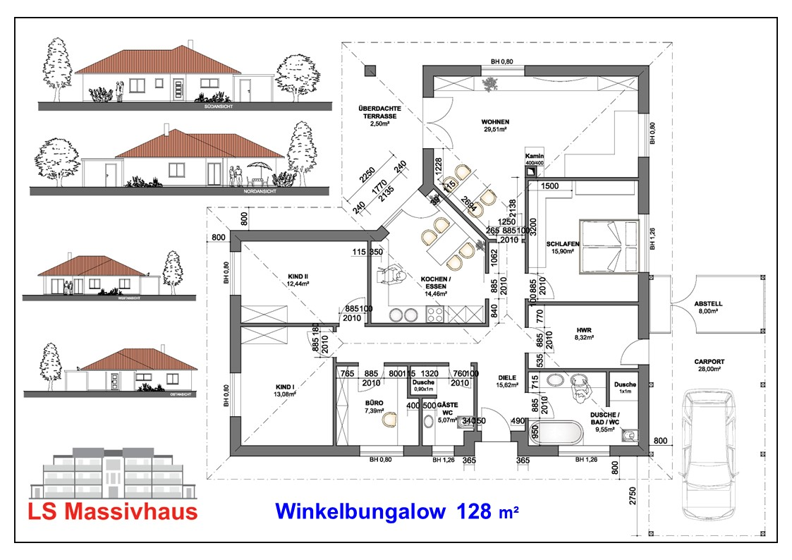 Winkelbungalow 128 m² Mauch